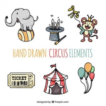 Desenhadas mão elementos de circo engraçado