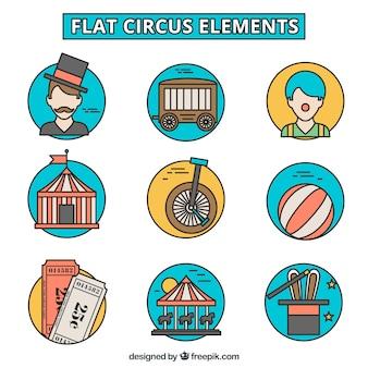 Desenhadas mão elementos de circo ícones