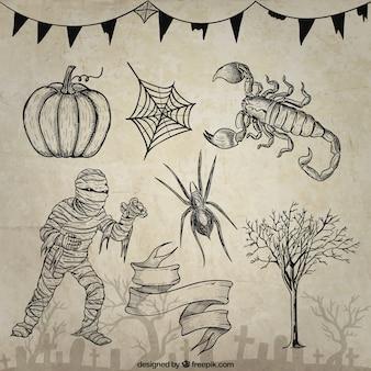 Desenhadas mão elementos de Halloween