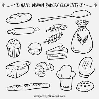 Desenhadas mão elementos de padaria