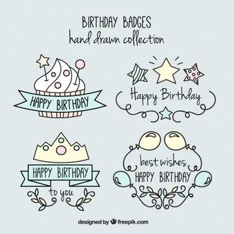 desenhadas mão emblemas agradáveis e agradáveis aniversário