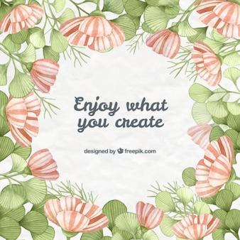 Desenhadas mão flores e folhas com frase inspirada