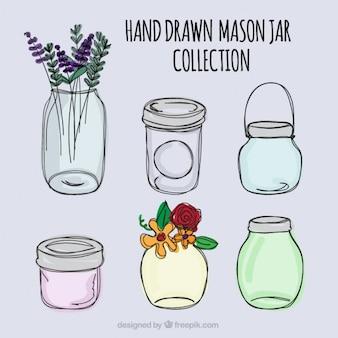 Desenhadas mão frascos de pedreiro