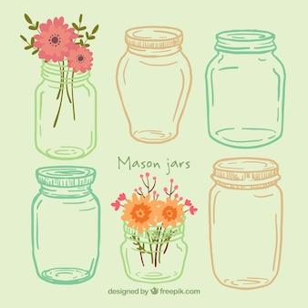 Desenhadas mão frascos manson