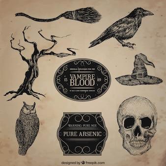 Desenhadas mão ilustrações do dia das bruxas escuras
