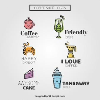Desenhadas mão logos coffee shop