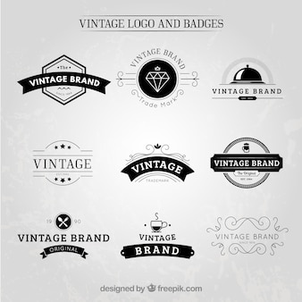 Desenhadas mão logos e emblemas do vintage
