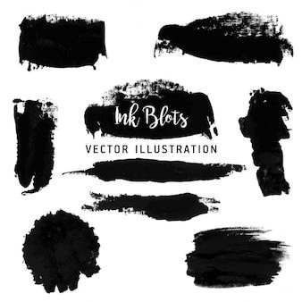 Desenhadas mão manchas pretas de tinta preta