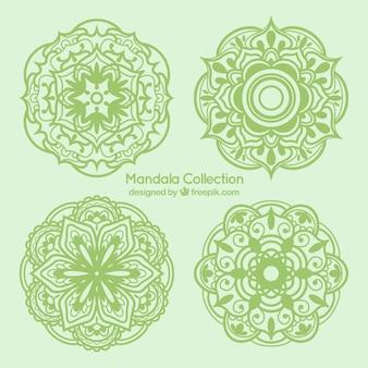 desenhadas mão mandalas verdes embalar