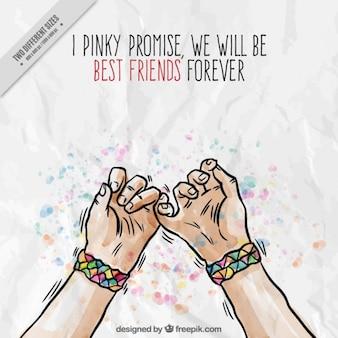 desenhadas mão mãos com fundo do símbolo da amizade