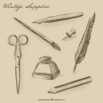 Desenhadas mão material de escritório do vintage
