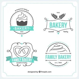 Desenhadas mão modelos de logotipos de padaria
