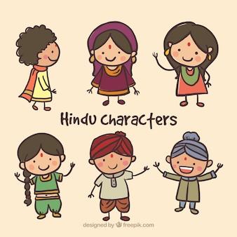 Desenhadas mão personagens hindu