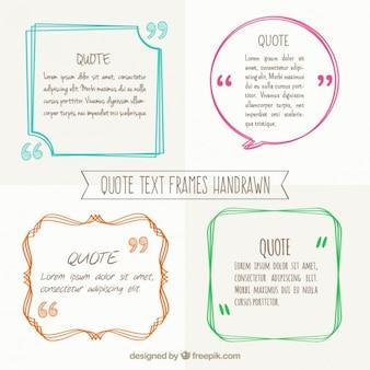 Desenhadas mão quadros de texto