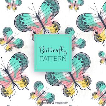 Desenhado à mão, padrão, colorido, borboletas
