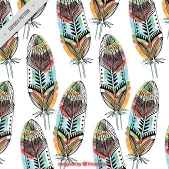 desenhado à mão padrão de penas com cores
