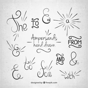 Desenhado mão Ampersands e coleção preposições