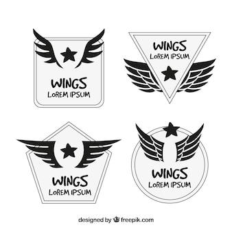 Desenhado mão, cobrança, logotipos, asas, estrelas