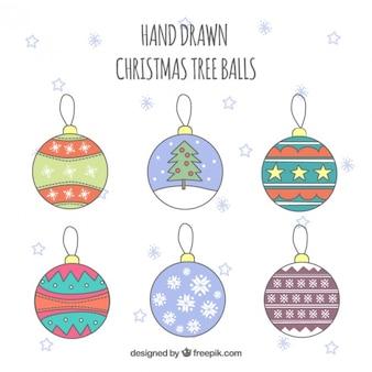 Desenhado mão do Natal Esferas da árvore