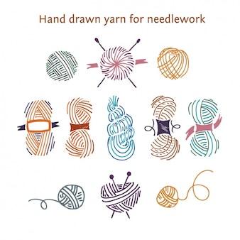 Desenhado mão fios para bordados