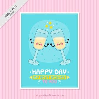 Desenho cartão de champanhe agradável