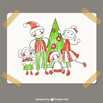 Desenho da família do Natal