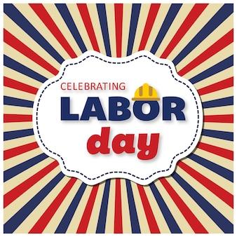 Desenho de cartaz do Dia do Trabalho de EUA com texto do Dia do Trabalho