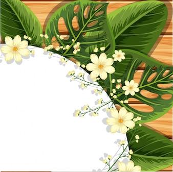 Desenho de fundo com folhas e flores verdes