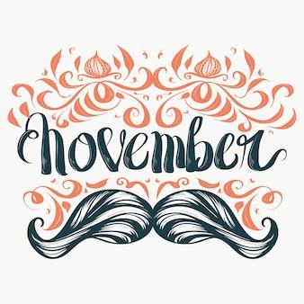Desenho de letras Movember