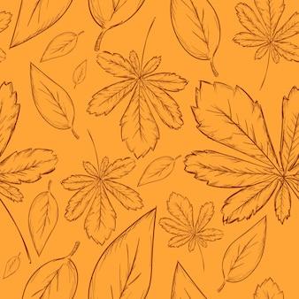 Desenho desenhado com folhas padrão de fundo
