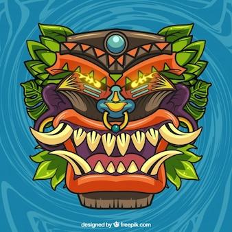Desenho desenhado da tiki, fundo da máscara selvagem
