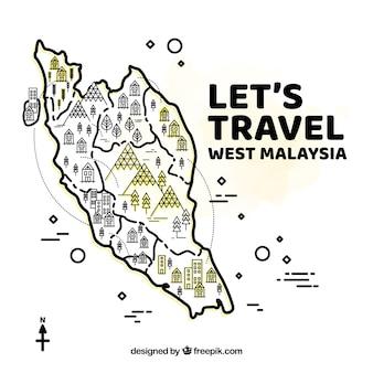 Desenho desenhado do mapa do malaysia ocidental