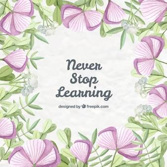 Desenho flores lilás com frase sobre a aprendizagem