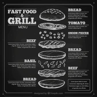 Desenho menu de comida rápida no quadro-negro