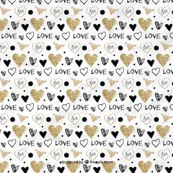 Desenho padrão de corações dourados e pretos