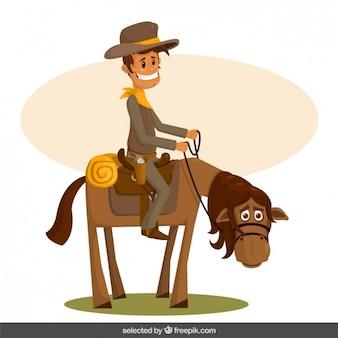 Desenhos animados felizes do cowboy