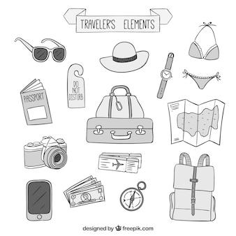 Desenhos de elementos viajantes embalar