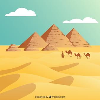 Deserto egípcio com as pirâmides