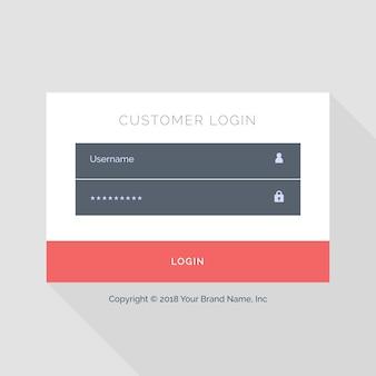 Design branco liso modelo de formulário de login ui