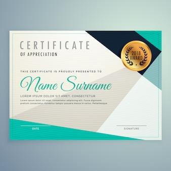 Design Certificado elegante e moderno com formas geométricas