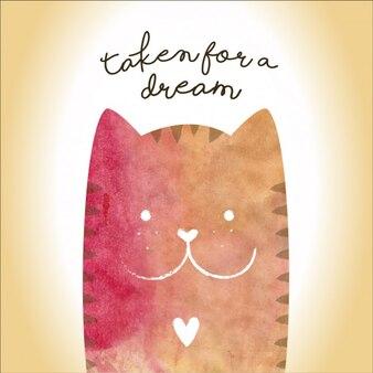 design colorido fundo gato feliz