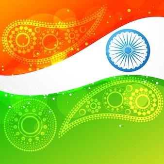 Design da bandeira indiana do estilo da onda do vetor