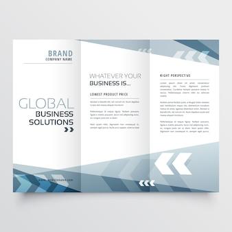 Design de brochura de tri fold abstrato em estilo de forma geométrica