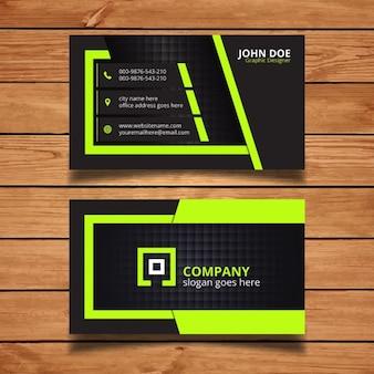 Design de cartão corporativo verde e preto