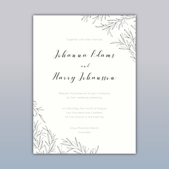 Design de cartão de convite de casamento com desenhos elegantes
