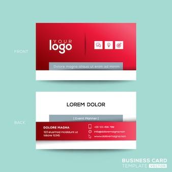 Design de cartão de visita limpo e simples do cartão vermelho
