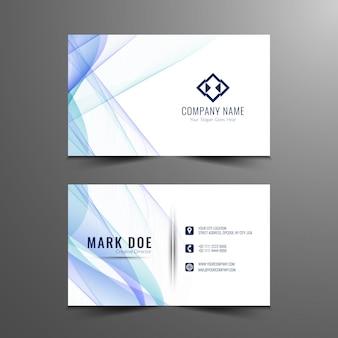 Design de cartão de visita ondulado azul