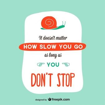 Design de cartão retro caracol motivacional