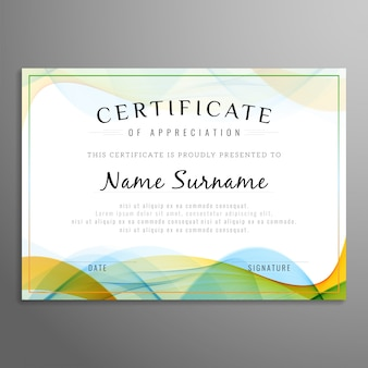 Design de certificado ondulado