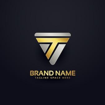 Design de conceito de logotipo da letra criativa t